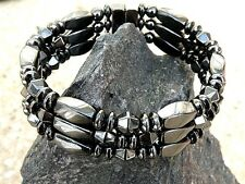 Men's Woman's Magnetic Hematite TRIPLE Row Anklet Bracelet Therapy Clasp