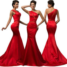 Red One Shoulder Satin Long Prom Gown Party Bridesmaid Evening Dress Mermaid
