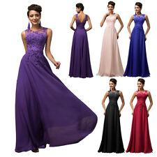 Long Lace Chiffon Bridesmaid Evening Gown Formal Party Cocktail Dress Plus Size