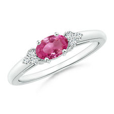 Natural AAAA Pink Sapphire Solitaire Ring with Diamond Accents 14k White Gold