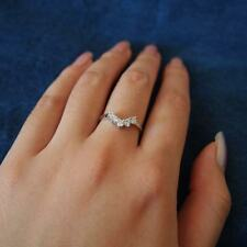 925 STERLING SILVER Simulated Diamond V Shaped Curved Ring Size 8 9 10 / P R T