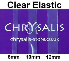 Clear Elastic 6mm, 10mm, 12mm Flat Frosted Framillon per 1 or 5 Metres
