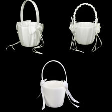 Fashion Ivory Satin Faux Pearl Bow Flower Girl Basket Wedding Party Decorations