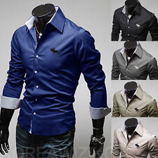 New Hot Fashion Men's Luxury Long Sleeve Casual Slim Fit Stylish Shirts Top d56