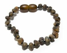 Genuine Raw Baltic Amber Baby Anklet Bracelet Mixed Grey Beads 5.5 - 5.9 in
