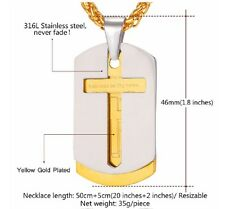 Cross Necklace Pendant Christian Jewelry  Dog Tags Gold Plated Stainless Steel