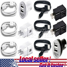 US USB Wall Adapter Car Micro USB Charger Cable For Samsung Galaxy S6 S7 Edge P