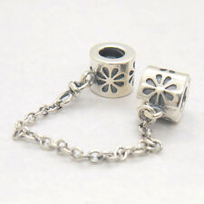 Authentic Genuine S925 Sterling Silver Floral Daisy Safety Chain Charm