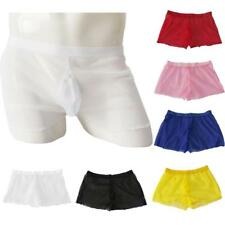 Sexy Solid Color See-Through Voile Boxer Briefs Shorts Sheer Underwear for Men