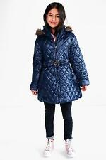 Boohoo Womens Girls Diamond Quilted Faux Fur Hooded Coat