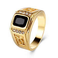 Mens Black Onyx CZ Solid Yellow Gold Plated High School Ring Size 9 10 11