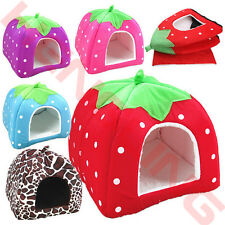 Cute Strawberry Pet Dog Cat Bed Soft House Kennel Doggy Puppy Warm Cushion Pad