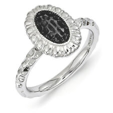 Sterling Silver Stackable Rhodium & Black Plated 12mm Oval Ring