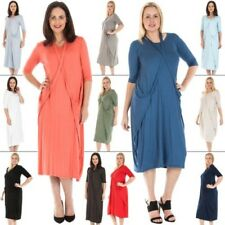 New Womens Italian Lagenlook Tie Neck Baggy Midi Dress Plus Size