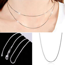 NS New Wholesale solid Silver lots 5pcs 1mm snake chain Necklace 16-30inch