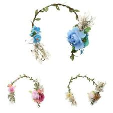 Bridal Rattan Flower Crown Headband Wedding Prom Beach Floral Garland Hairband