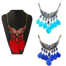 Ethnic Vintage Feather Wing Teardrop Tassel Crystal Chain Choker Bib Necklace