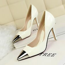 Sexy Rock Patent Leather Metal Steel Toed Pointed High heel Women Nightclub Shoe