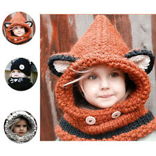 Hoodie Knit Baby Kid Hat Girl Boy Wool Crochet Fox Ear Earflap Cap Scarf Winter