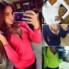 Fashion plus size V neck women t shirt Long sleeve cropped sexy top tees women