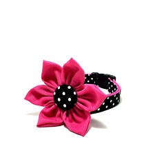 Cat Dog Collar Hot Pink Polka Dot Collar Flower Bow New Preppy Designer Girly
