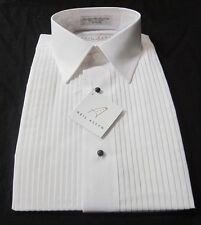 New Fashion Mens Neil Allyn White Laydown Collar Pleated Tuxedo Shirt Sz S14