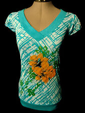 New FEROCIOUS Banded Tunic tee shirt womens SM Turquoise floral V neck burn out