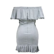 Women Off Shoulder Draped Summer Pleated Casual Short Sleeved Mini Dress