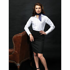 Premier Ladies Signature Button Collar Long Sleeve Easy Care Fabric Oxford Shirt