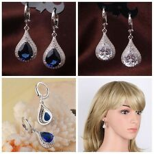 18K Gold Plated Drop Sapphire Zircon Earrings Women Wedding Dangle Jewelry Gifts