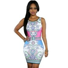 Women Vintage Print Bandage Beach Fashion Casual Sleeveless Party Dress