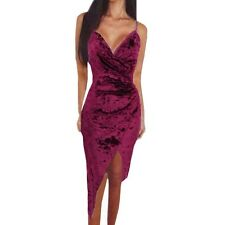 Women Party Club Velvet Strap Deep V Backless Bandage Mini Bodycon Dress