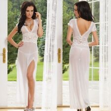 sexy long dressing night gown sheer transparent dress evening nightgown