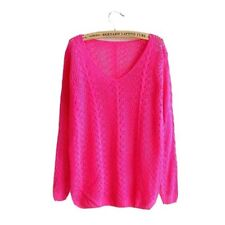Women Sweater Knitted Pullovers V-neck Hollow Pull Serratula Long Sleeve Jacket