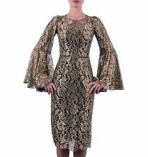 DOLCE & GABBANA RUNWAY Gold Metallic Lace Dress w. Floral Brocade Jacquard 05057