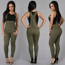 Women Solid Pockets Rompers Jumpsuit Skinny Pencil Pants Casual Overalls Playsui
