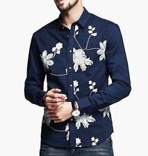 Comfortable Mens Casual Shirt Flower Embroidery Long Sleeves Lapel Cotton  M L