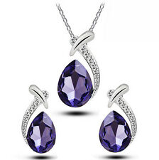 Crystal Water Drop Silver Plated Earrings Necklaces Bridal Jewelry Sets SP