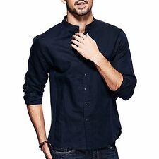 Vibrant Mens Simple Slim Long Sleeve Stand Collar Stitching Casual Shirt M~XXL