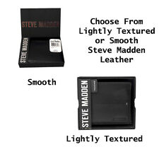 New Steve Madden Genuine Leather Bifold Men's Wallet - Black Smooth or Textured