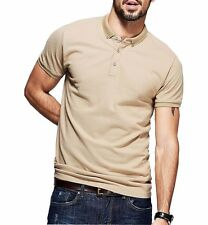 Unique Mens Casual Polo shirt 100% Cotton Lapel Short Sleeve Solid T-shirt M~XXL