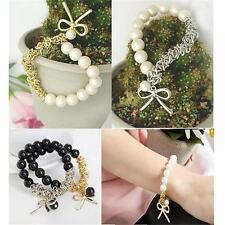 Retro HOT Beads Cuff Chain Butterfly Sweet Bow Pearl Black Bangle Bracelet