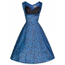 Blue Leopard Print 'OPHELIA'  Rockabilly Lindybop Pin Up Swing dress 8 and 10 sz