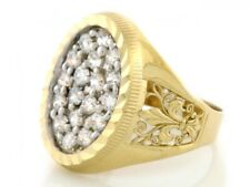 10k / 14k Solid Yellow Gold CZ Mens Ring Fleur De Lis Design