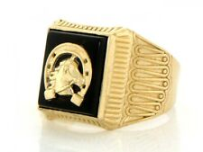10k / 14k Solid Yellow Gold Onyx Horseshoe Mens Ring