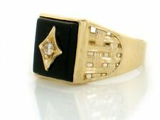 10k / 14k Solid Yellow Gold Onyx Fancy Mens Ring