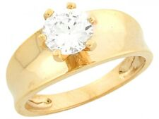 10k or 14k Yellow Gold 1.87ct CZ Round Solitaire Sleek Design Engagement Ring