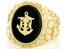 10k / 14k Solid Yellow Gold Oval Onyx Anchor Nugget Mens Ring