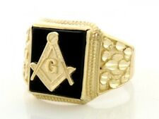 10k / 14k Solid Gold Onyx Masonic Mens Ring