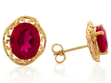 10k / 14k Yellow Gold Simulated Ruby Dazzling July Birthstone Post Earrings